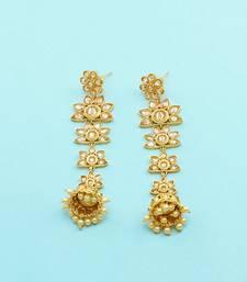 Buy Golden beige polki stones jhumki earrings jewellery for women Earring online