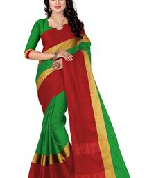 Buy Green printed chanderi silk saree with blouse chanderi-saree online