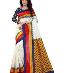 Buy White printed bhagalpuri saree with blouse cotton-saree online