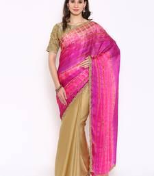Buy Pink woven satin saree with blouse satin-saree online