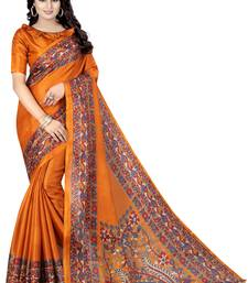Buy Mustard printed art silk saree with blouse kalamkari-saree online