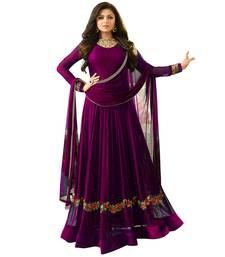 Buy Purple embroidered faux georgette salwar with dupatta anarkali-salwar-kameez online