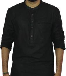 Buy Black cotton solids mens wear kurta men-kurta online