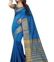 Buy Sky blue plain art silk saree with blouse art-silk-saree online