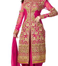 Buy Pink embroidered georgette salwar with dupatta dress-material online