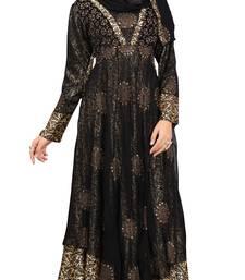 Buy Black & Golden Colour Diamond Stone Work Satin & Georgette With Printed Inner Design Anarklai Style Burka burka online