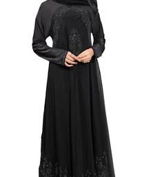 Buy Black Colour Georgette & Stretchable lycra black stone work anarkali style Burka burka online