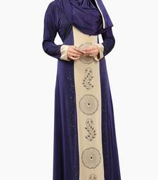 Buy Navy Blue Colour Stretchable Lycra Diamond Stone Work Straigth Style Burka burka online