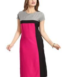 Buy Pink plain crepe stitched kurti kurtas-and-kurtis online