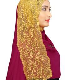 Buy Jamli Colour Khati work Lace Work &  Diamond Stone work Indian Hoisery Cotton Hijab (Headscraf) hijab online