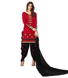 Buy Red embroidered cotton silk salwar with dupatta cotton-silk-suit online