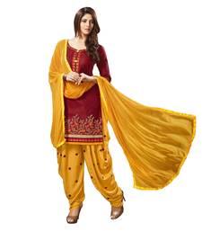 Buy Maroon embroidered cotton silk salwar with dupatta cotton-silk-suit online