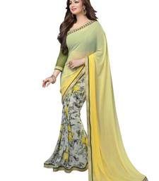 Buy Yellow printed georgette saree with blouse ayesha-takia-saree online