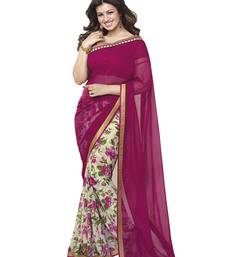 Buy Pink printed georgette saree with blouse all-seasons-saree online