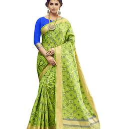 Buy Dark parrot green woven pochampally saree with blouse pochampally-saree online