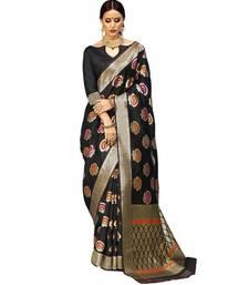 Buy Black woven silk saree with blouse silk-saree online