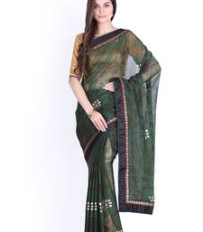 Buy Green brasso brasso saree with blouse all-seasons-saree online