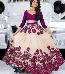Buy White embroidered net unstitched lehenga ghagra-choli online