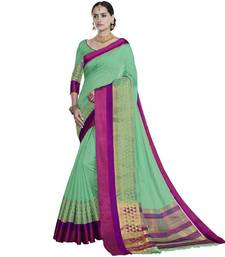 Buy Parrot green woven cotton silk saree with blouse handloom-saree online