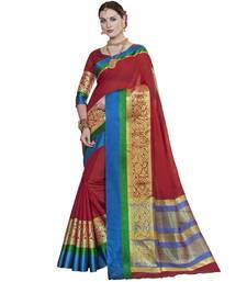 Buy Maroon woven cotton silk saree with blouse handloom-saree online