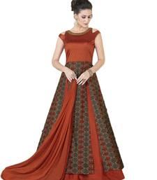 Buy Dark-orange embroidered silk salwar festive-salwar-suit online