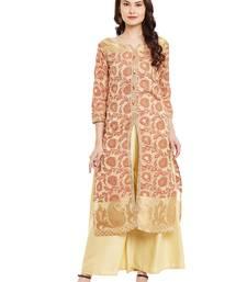 Buy Beige embroidered chanderi stitched kurti kurtas-and-kurtis online