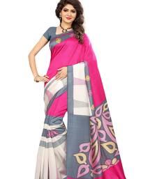 Buy Multicolor printed art silk saree with blouse handloom-saree online