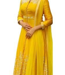 Buy Yellow self design silk salwar anarkali-salwar-kameez online