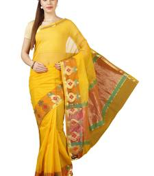 Buy Yellow plain cotton saree with blouse kota-saree online