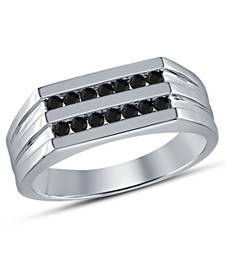 Buy Classic Engagement Band Ring For Men's With Black Cubic Zirconia 925-sterling-silver-ring online