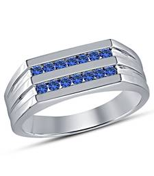 Buy Special Band Ring Gift For Boyfriend With Round Cut Blue CZ 925-sterling-silver-ring online
