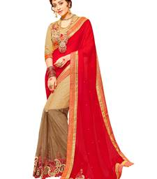 Buy Red woven satin saree with blouse satin-saree online