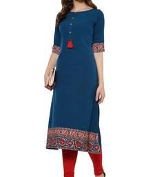 Buy Turquoise printed crepe kurtas-and-kurtis kurtas-and-kurtis online