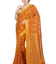 Buy Mustard woven silk saree with blouse traditional-saree online