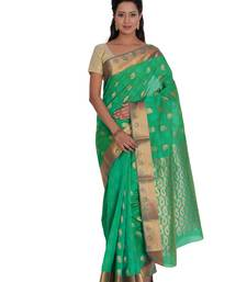 Buy Green woven silk saree with blouse traditional-saree online