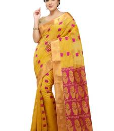 Buy Yellow woven silk saree with blouse traditional-saree online