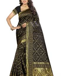 Buy Black printed kanchipuram silk saree with blouse pongal-dhoti-saree online