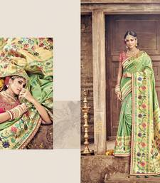 Buy Green embroidered banarasi silk saree with blouse wedding-saree online