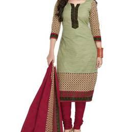 Buy Red floral print cotton salwar crepe-salwar-suit online