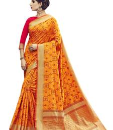 Buy Orange printed pochampally silk saree with blouse piece pochampally-saree online