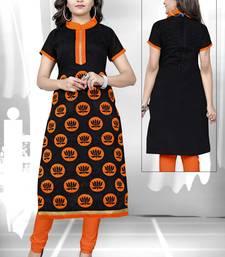 Buy Black embroidered chanderi embroidered-kurtis embroidered-kurtis online
