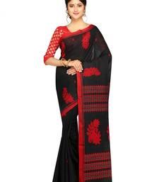 Buy Handloom Khadi Cotton Saree of bengal with Blouse Dhakai Jamdani Saree(Black) handloom-saree online