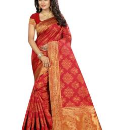 Buy Red printed silk saree with blouse ethnic-saree online