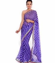 Buy Blue printed pure georgette saree with blouse leheriya-saree online