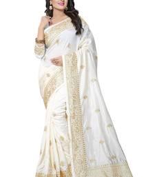 Buy White embroidered art silk saree with blouse art-silk-saree online