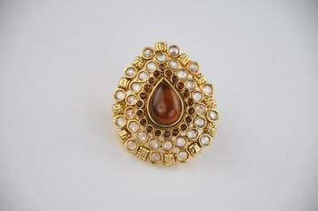 Traditional Oval Shaped Kundan Ring