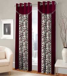 Buy Set of 2 door eyelet curtains checks maroon curtain online