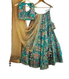 Buy Multicolor embroidered silk semi stitched lehenga lehenga-choli online
