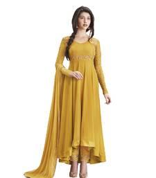 Buy Yellow Faux georgette embroidered semi stitiched salwar with dupatta anarkali-salwar-kameez online
