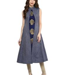 Buy Blue Color Denim A-Line Front Slit Women's Long Kurti long-kurtis online